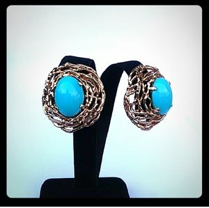 '40s PANETTA Robin Egg Blue Faux Turquoise Clip-On